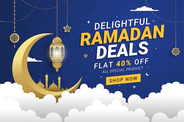 Arrière-plan du modèle de bannière de vente ramadan