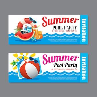 Arrière-plan du modèle de billet invitation fête piscine d'été