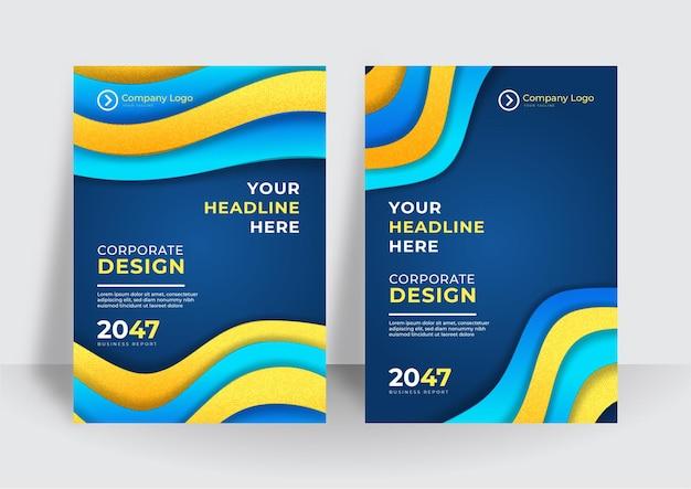 Arrière-plan du modèle de couverture jaune bleu moderne. modèle de couverture abstraite brochure brochure colorée. modèle de conception de couverture d'entreprise pour brochure, rapport, catalogue, magazine ou livret.