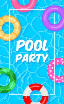 Arrière-plan du modèle de pool party. piscine avec bouées de sauvetage colorées anneaux de flotteur