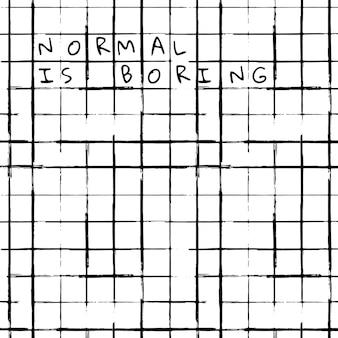 L'arrière-plan du motif de pinceau d'encre de vecteur de grille avec le texte normal est ennuyeux