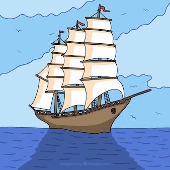 Arrière-plan du navire dessiné à la main dans la mer
