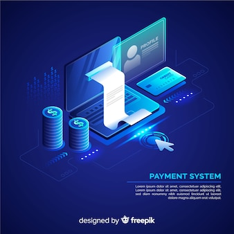 Arrière-plan du système de paiement isométrique
