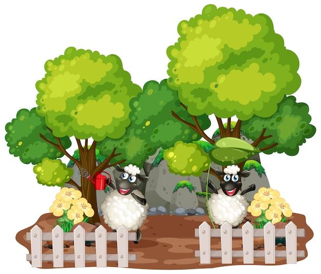 Arrière-plan du thème de la ferme avec des animaux de ferme