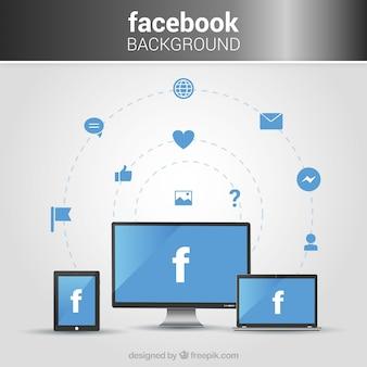 Arrière-plan avec des écrans et des icônes facebook