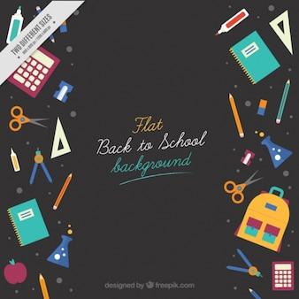Arrière-plan avec des éléments pour retourner à l'école
