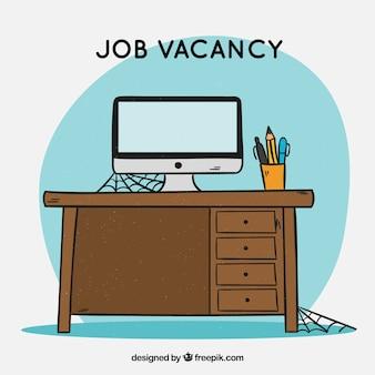 Arrière-plan d'emploi vacance dans le style dessiné à la main