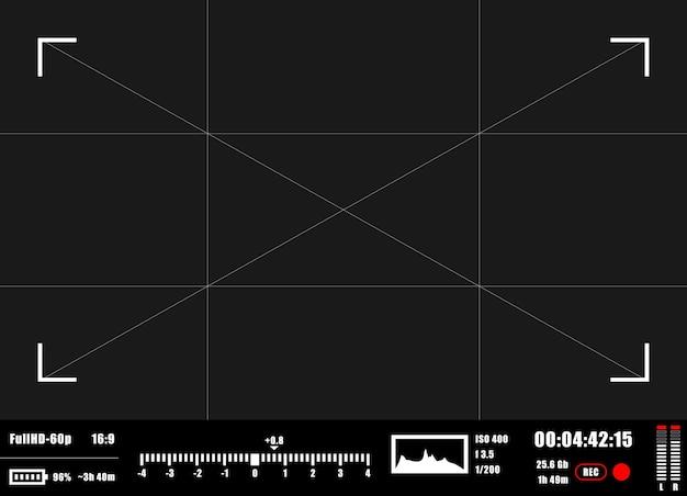 Arrière-plan d'enregistrement du viseur de l'appareil photo. écran de mise au point de l'appareil photo.