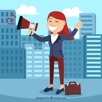 Arrière-plan de femme d'affaires dans la ville avec un mégaphone
