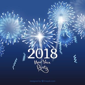 Arrière-plan de fête de nouvel an avec feux d'artifice