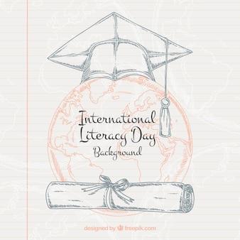 Arrière-plan de la feuille portable avec des dessins de la journée internationale de l'alphabétisation