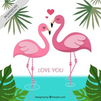 Arrière-plan de flamants roses dans l'amour