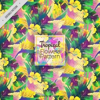 Arrière-plan de fleurs à l'aquarelle et les feuilles tropicales