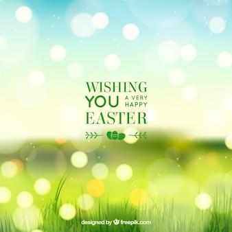 Arrière-plan flou jour heureux de pâques