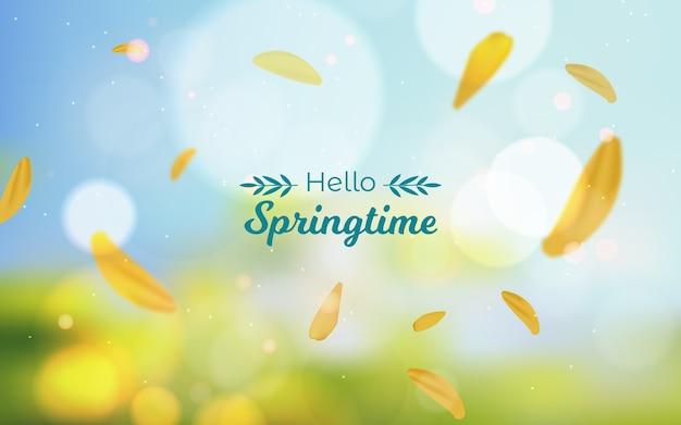 Arrière-plan flou avec lettrage bonjour printemps