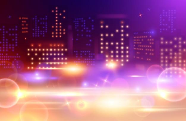Arrière-plan Flou De Lumières De La Ville Vecteur Premium