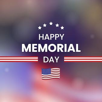Arrière-plan flou de memorial day avec drapeau usa