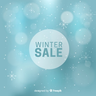 Arrière-plan flou de vente d'hiver