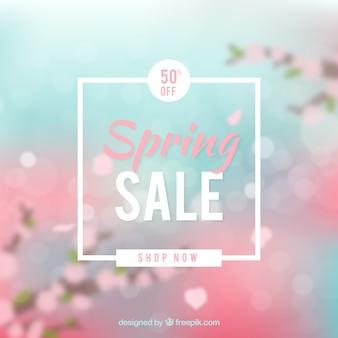 Arrière-plan flou de vente printemps