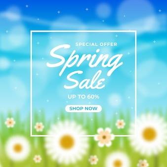 Arrière-plan flou de vente de printemps
