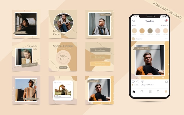 Arrière-plan de forme organique pour l'ensemble de publication de carrousel de médias sociaux du modèle de promotion de bannière de vente de mode instagram