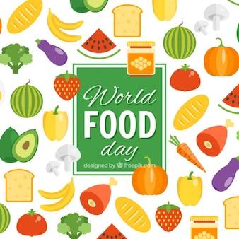 Arrière-plan de fruits et légumes par jour de nourriture du monde