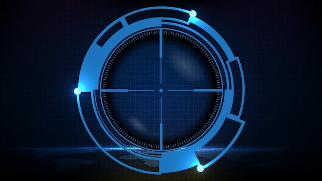 Arrière-plan futuriste abstrait de la vue de tireur d'élite de la technologie bleue avec des marques de mesure ui hud afficher le fusil de tireur d'élite la plus longue portée