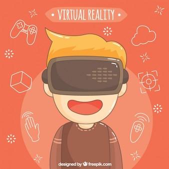 Arrière-plan de garçon avec des lunettes de réalité virtuelle