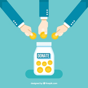 Arrière-plan avec des gens qui font un don