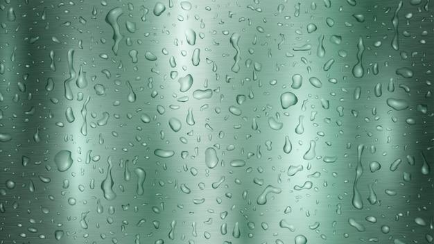 Arrière-plan avec des gouttes et des traînées d'eau aux couleurs turquoise, coulant sur la surface métallique