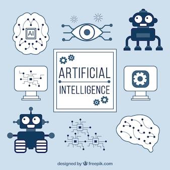 Arrière-plan de l'intelligence artificielle avec des éléments