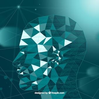 Arrière-plan de l'intelligence artificielle avec tête polygonale