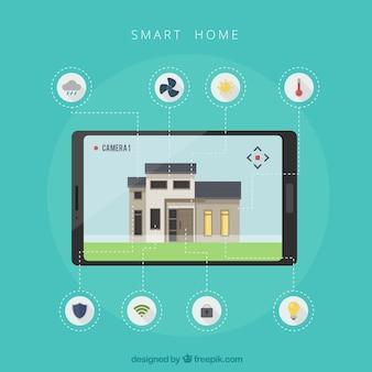 Arrière-plan intelligent maison avec dispositif