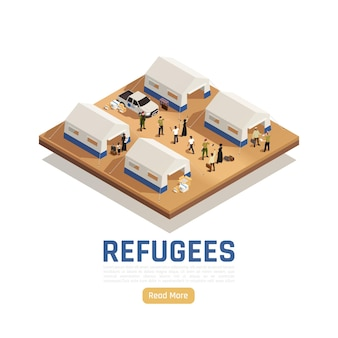 Arrière-plan isométrique d'asile de réfugiés avec une voiture qui a livré de l'aide humanitaire dans un camp pour immigrants