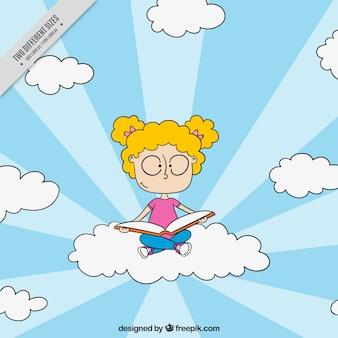Arrière-plan de jeune fille assise sur un nuage et lisant un livre