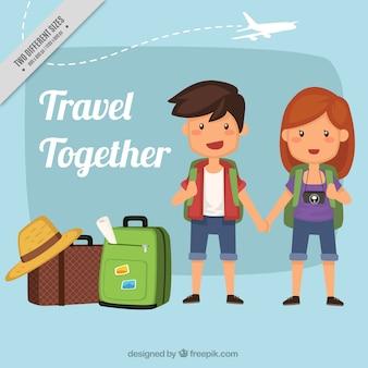 Arrière-plan de joli couple avec bagages