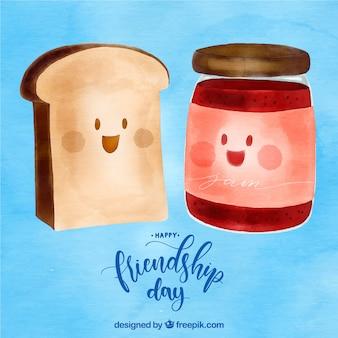 Arrière-plan de jour de l'amitié avec du pain grillé et de la marmelade