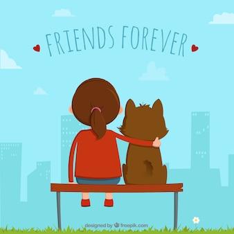 Arrière-plan de jour de l'amitié avec une fille et son chien