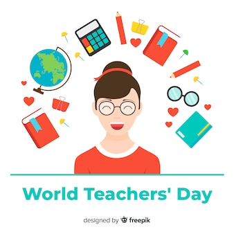 Arrière-plan de la journée de l'enseignant avec une enseignante et des éléments de l'école en design plat