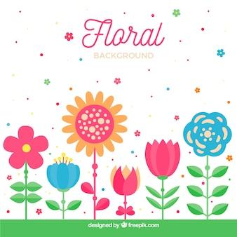 Arrière-plan de ligne de fleurs plates