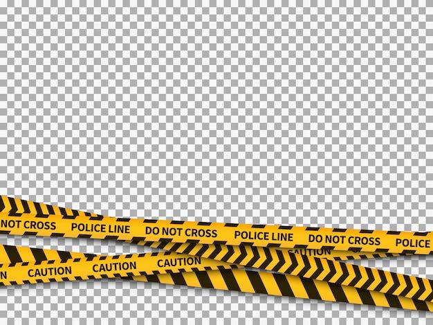 Arrière-plan de ligne de police. attention bande jaune danger pour la sécurité de la police enregistrée ligne interdite