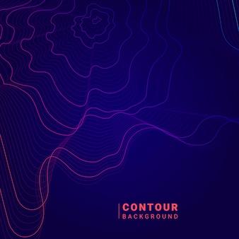 Arrière-plan de lignes de contour de carte abstraite bleue et rose
