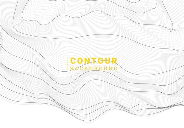 Arrière-plan de lignes de contour de carte abstraite noir et blanc