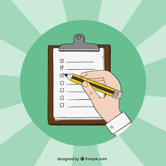Arrière-plan avec la main remplissant un formulaire