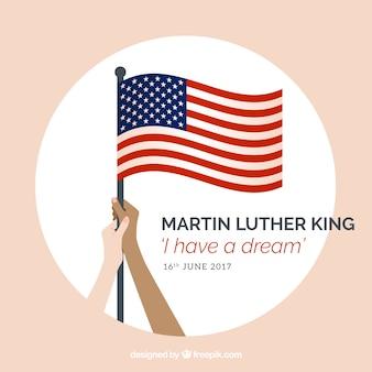 Arrière-plan avec les mains tenant un drapeau états unis