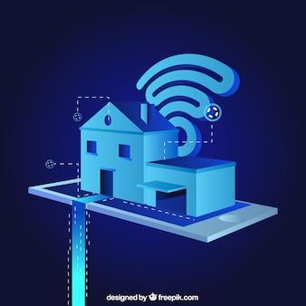 Arrière-plan de maison intelligente dans le style isométrique