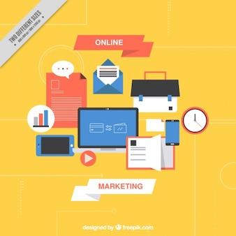 Arrière-plan de marketing numérique avec des articles