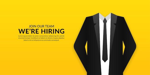 Arrière-plan de médias sociaux de vacance d'emploi minimale, nous sommes une bannière avec un concept de costume d'homme d'affaires