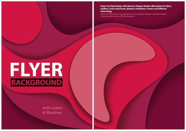 Arrière-plan moderne en couches avec effets d'ombre et formes abstraites dans des tons violets et roses