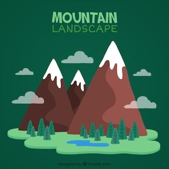 Arrière-plan de montagnes peintes à la main